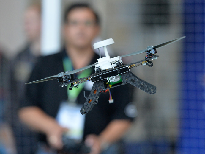 A ready-to-fly drone that uses Intel's Aero Compute Board and RealSense technology is flown during a demonstration at the 2016 Intel Developer Forum in San Francisco on Wednesday, Aug. 17, 2016. (Credit: Intel Corporation)
